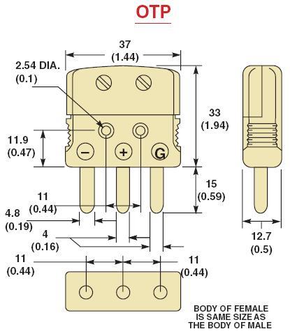 OTP-(*)-M系列标准热电偶插头|OTP-(*)-F系列标准热电偶插座-尺寸