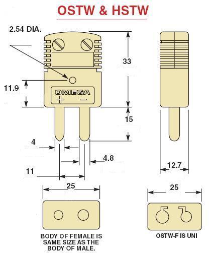 OSTW-(*)系列标准型美国omega热电偶插头插座