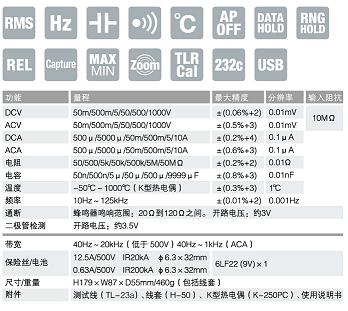PC510a数字万用表 日本三和Ssanwa数字万用表 技术参数