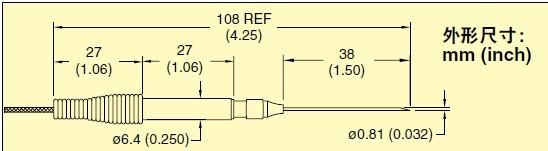 HYP2  omega注射器针头热电偶探头尺寸