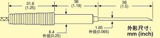 HYP3  omega注射器针头热电偶探头尺寸