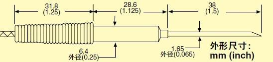 HYP4  omega注射器针头热电阻探头尺寸