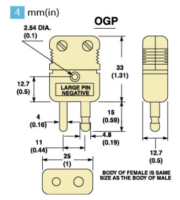 OGP-(*)-M系列热电偶插头 OGP-(*)-F系列热电偶插座-尺寸