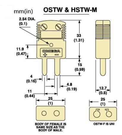 OSTW-(*)-M标准热电偶插头|OSTW-(*)-F标准热电偶插座