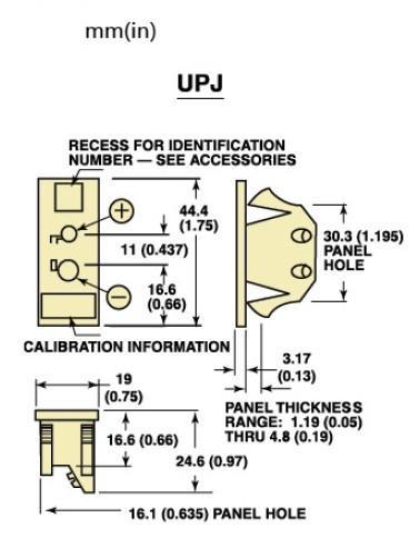 UPJ-(*)-F面板式热电偶插座|美国omega面板镶嵌式热电偶插座-尺寸图