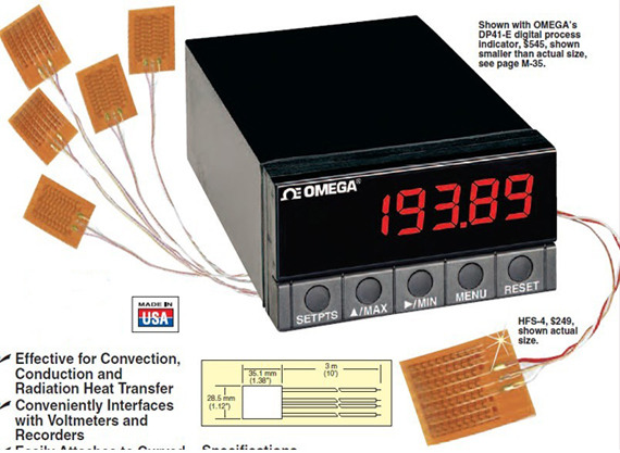 omega热流密度计|薄膜热通量传感器