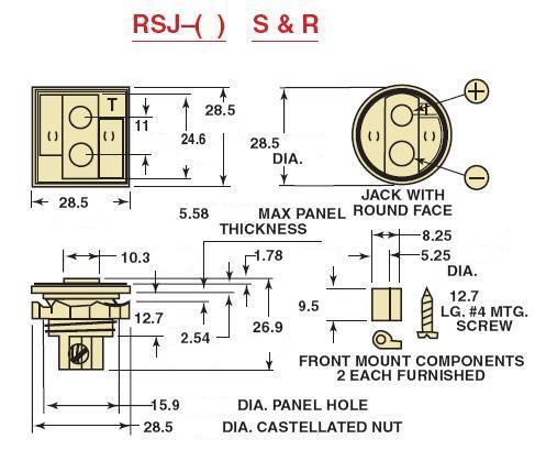 RSJ-J-R热电偶插座-尺寸