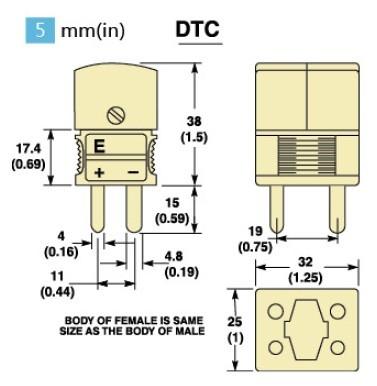 DTC雙只熱電偶插頭 雙只熱電偶插座尺寸圖
