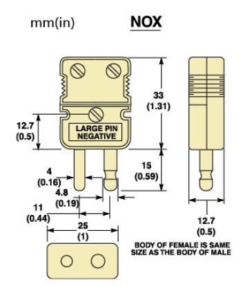 NOX,UOX系列無釉質超高溫標準尺寸熱電偶插頭|熱電偶插座-尺寸圖