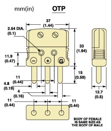 OTP-(*)-M系列标准热电偶插头 OTP-(*)-F系列标准热电偶插座-尺寸