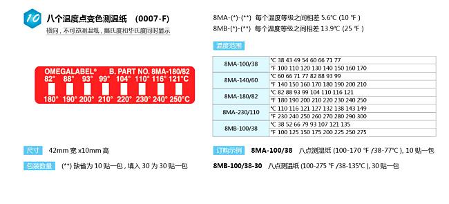 8MA,8MB測溫紙|美國omega八點橫向測溫紙