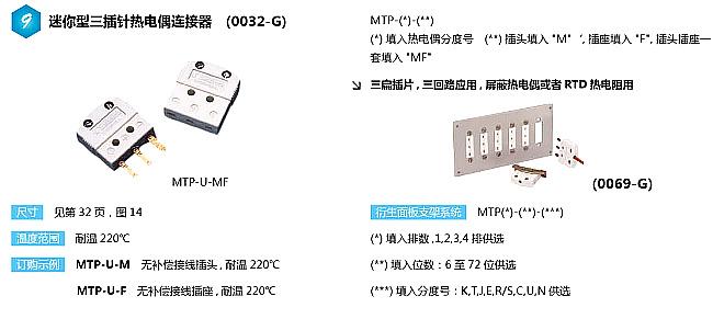 MTP-(*)-M系列热电偶插头|MTP-(*)-F系列热电偶插座
