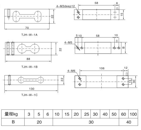 称重传感器,TAS-W平行梁称重传感器