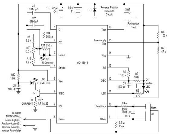 MC145010DW 烟雾报警器电路图