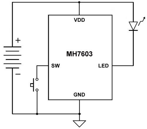 轻触开关LED手电筒电路图