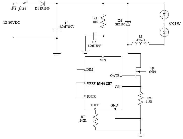 电动车LED车灯电路图