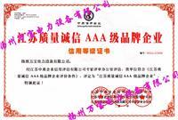AAA质量诚信证书
