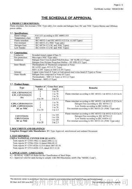BV船检证书(船用电力电缆3-2)